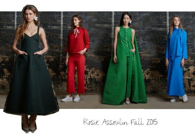 Warum Abendkleider jetzt Taschen brauchen: Rosie Assoulin Fall 2015