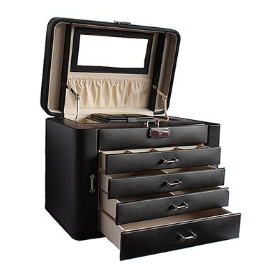 Mele & Co Ladies Black Large Leather Jewellery Box with Travel Case - RRP: £130, our price: £74.99