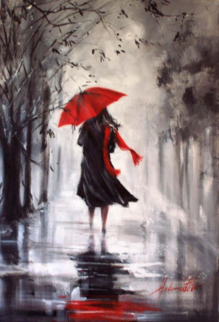 HELEN COTTLE 1962 (Red umbrella) -American Impressionist painter