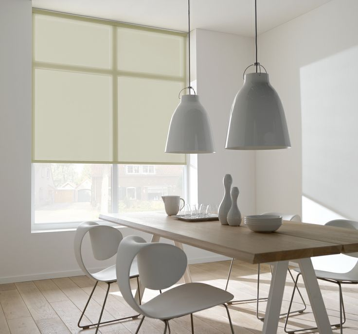 sheer roller blinds in white diining room white ceiling pendants
