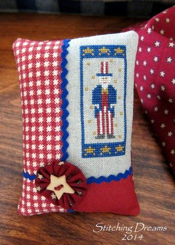 Uncle Sam cross stitch patriotic pillow ornament
