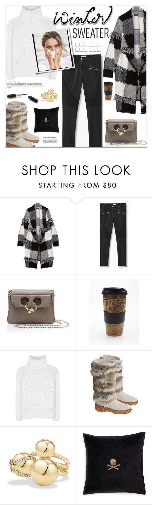 """Winter Sweater"" by watereverysunday ❤ liked on Polyvore featuring Burberry, MANGO, J.W. Anderson, Free People, Loro Piana, Overland Sheepskin Co., David Yurman, Ralph Lauren and wintersweater"