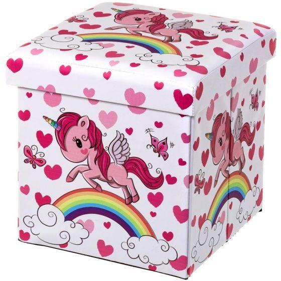nouveau produit dbd29 89589 Pouf Coffre Licorne Rose et Arc-en-Ciel pour Enfants ...