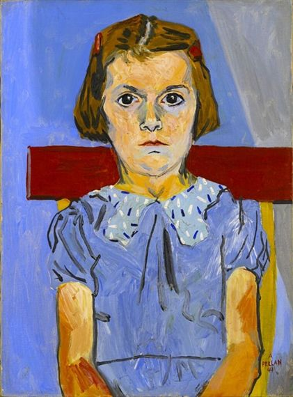 Alfred Pellan, Young Girl in Blue Dress, 1941, 58.7 x 43.2 cm, oil on canvas