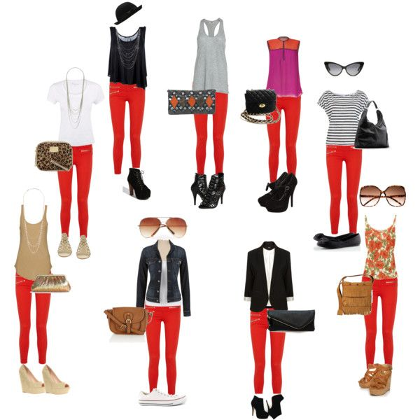 Cómo combinar prendas con un pantalón rojo.