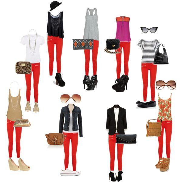 Cómo combinar prendas con un pantalón rojo.                                                                                                                                                                                 Más