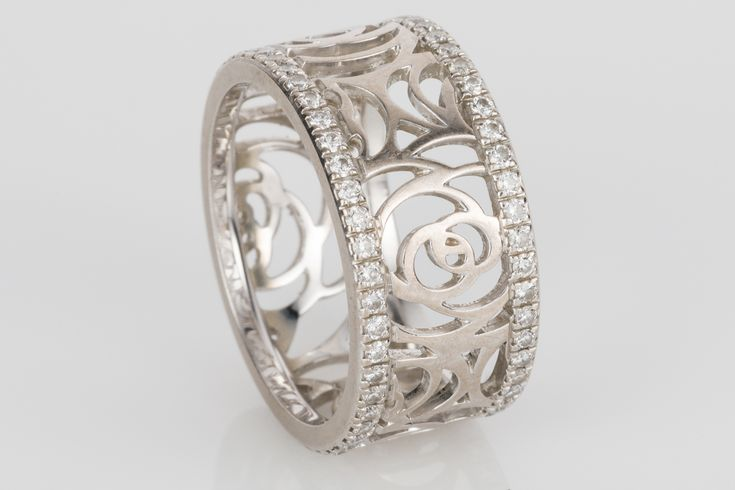 Chanel Ajoure Diamond Band in 18k white gold set with sparkling white diamonds. Replicating Chanel's favourite flower the Camelia this ring is so elegant, just like Coco herself. Available on www.1stdibs.com - Size 5/49/J