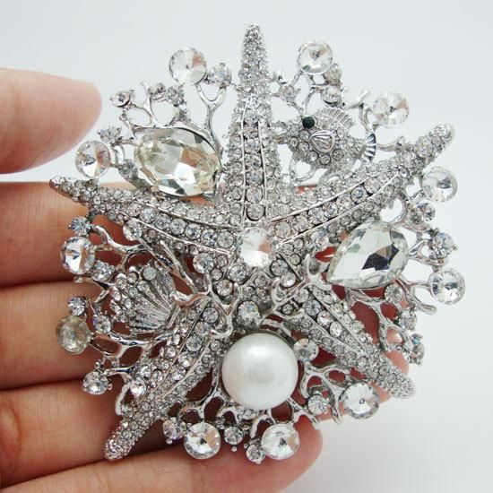 Wholesale  -Romantic Fashion Style Crystal Clear White Rhinestone Starfish Brooch Pin Decorated Marine Online with $9.42/Piece | DHgate