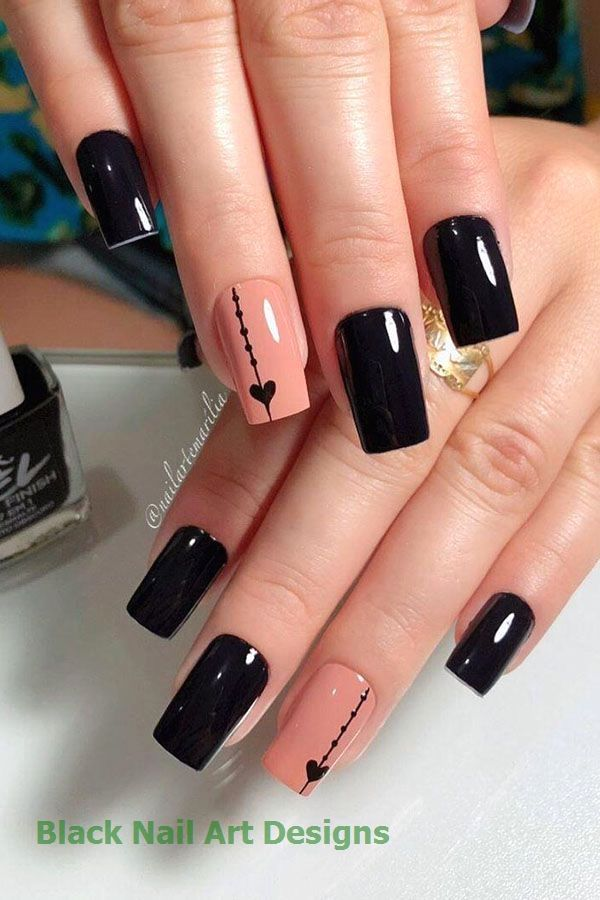 54 Elegante Schwarze Nail Art Designs Und Ideen Black Style Nails Manicura Para Unas Cortas Unas De Gel Elegantes Unas De Gel Bonitas