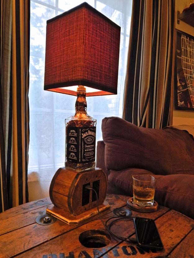 Fun DIY Ideas Made With Jack Daniels - Recipes, Projects and Crafts With The Bottle, Everything From Lamps and Decorations to Fudge and Cupcakes |  Multi Use Upcycled Jack Daniels Bottle Lamp Idea  |   http://diyjoy.com/diy-projects-jack-daniels