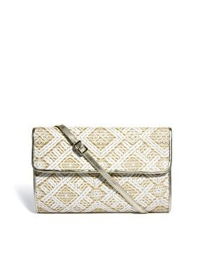 Image 1 of Oasis Straw Weave Clutch Bag