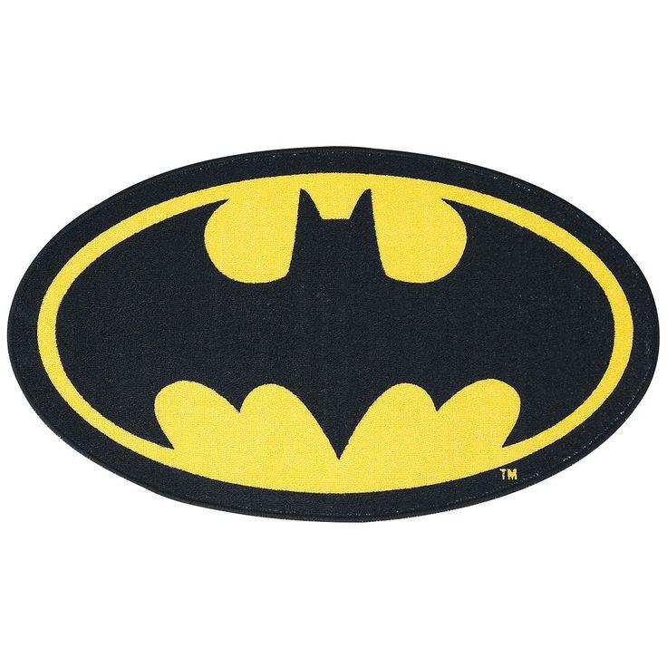 """Zerbino """"Logo"""" di #Batman di forma ovale con logo del famoso supereroe in nero e fondo gommato antiscivolo. Adatto a interni ed esterni. Lavabile a 30 gradi. Dimensioni: 58 x 100 cm."""