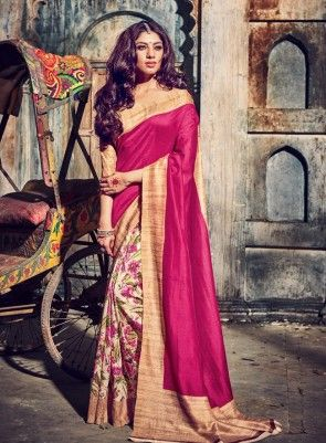 #Pink and #Cream Floral Printed BhagalPuri Silk #Saree On bhagalpuri silk printed saree alongside a matching blouse and border. This saree is perfect for wears from casual to classy affairs.