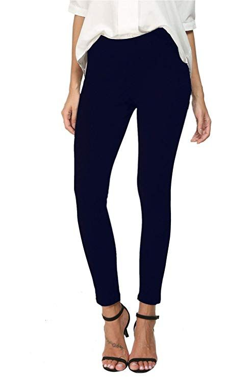 611c92b11eadb3 Bamans Mid Waist Yoga Dress Pants Stretch Slim Leg Tummy Control Work Pull-On  Dress