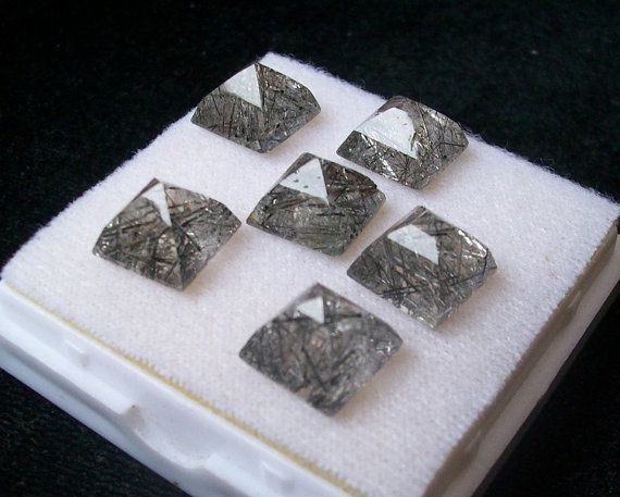 10 mm PYRAMID Natural BLACK Rutilated QUARTZ square by GEMSDEAL