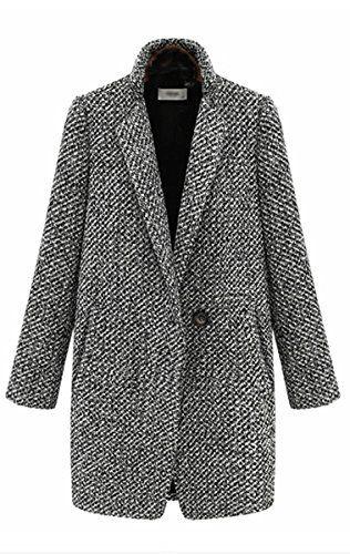 Women's Vogue Lapel Wool Cashmere Parka Wind Coat Trench Jacket
