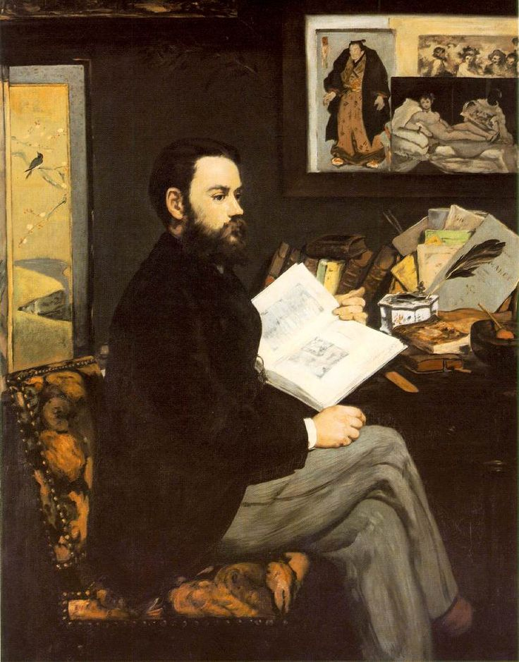 Edouard Manet, Portrait of Emile Zola  Painted in 1868 in a palette reminiscent of his scandalous Luncheon on the Grass, this very formal portrait of Émile Zola, the rising novelist and tireless defender and of The Impressionists, represents the writer a year after the publication of his first novel Thérèse Raquin. The book was a commercial and artistic, although not a critical success for Zola.