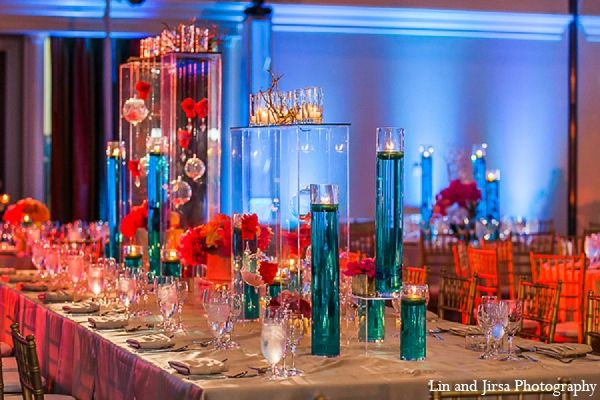 indian wedding reception decor blue orange http://maharaniweddings ...
