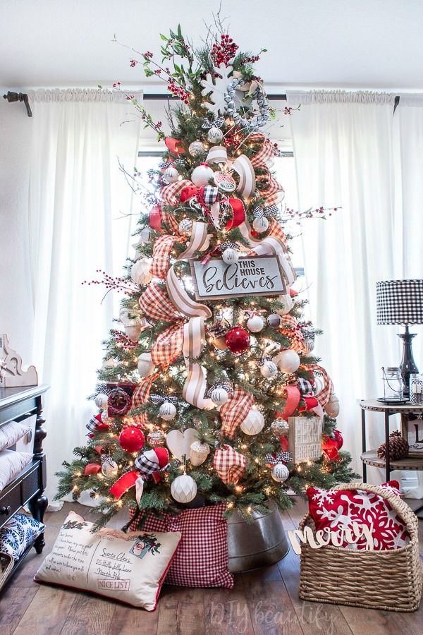 Bright And Festive Farmhouse Christmas Tour Christmas Tree Inspiration Christmas Decorations Rustic Tree Red Christmas Decor