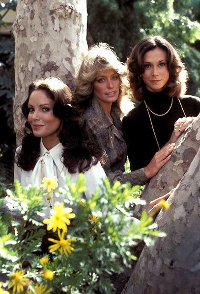 Jaclyn Smith as 'Kelly Grant', Farrah Fawcett as 'Jill Munroe' & Kate Jackson as 'Sabrina Duncan' on Charley's Angels (1976-81, ABC)