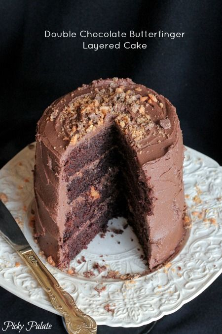 Double Chocolate Butterfinger Layered Cake by Picky Palate