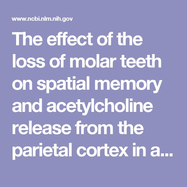 The effect of the loss of molar teeth on spatial memory and acetylcholine release from the parietal cortex in aged rats.  - PubMed - NCBI