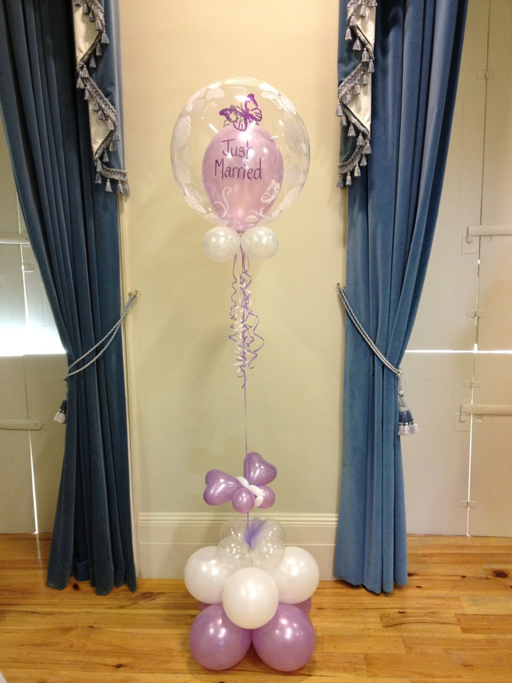 Butterfly theme wedding double bubble by missymooballoons for Balloon column decoration