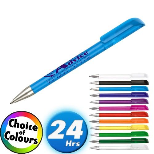 The Alaska Frost Ballpen comes in a excellent array of colour choices and can be produced in 24hrs, (from artwork approval). Need promotional pens in a hurry, check out the Alaska Frost Ballpen!