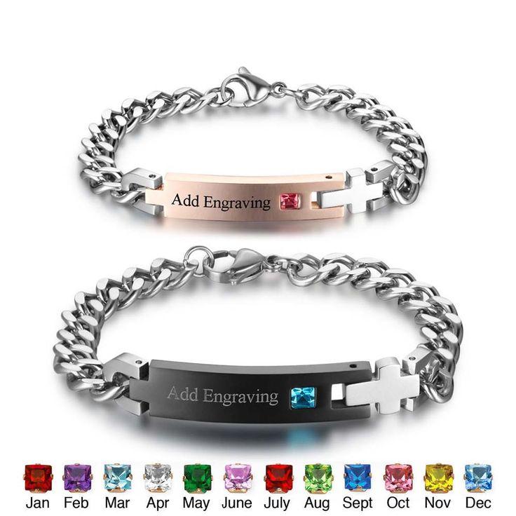 Персонализированные Камень Браслеты и браслеты индивидуальные нержавеющей стали пара выгравировать имя браслеты 195/175 мм (BA101977) купить на AliExpress