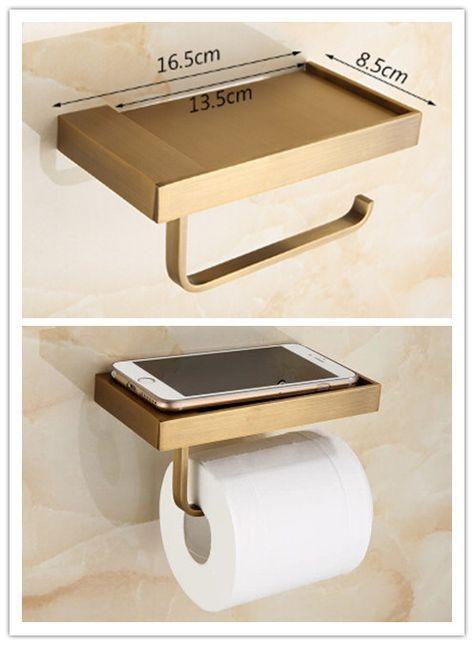 Antique New Design Brass Bathroom Toilet Roll Holder Paper Holder Phone Holder TAB98Y