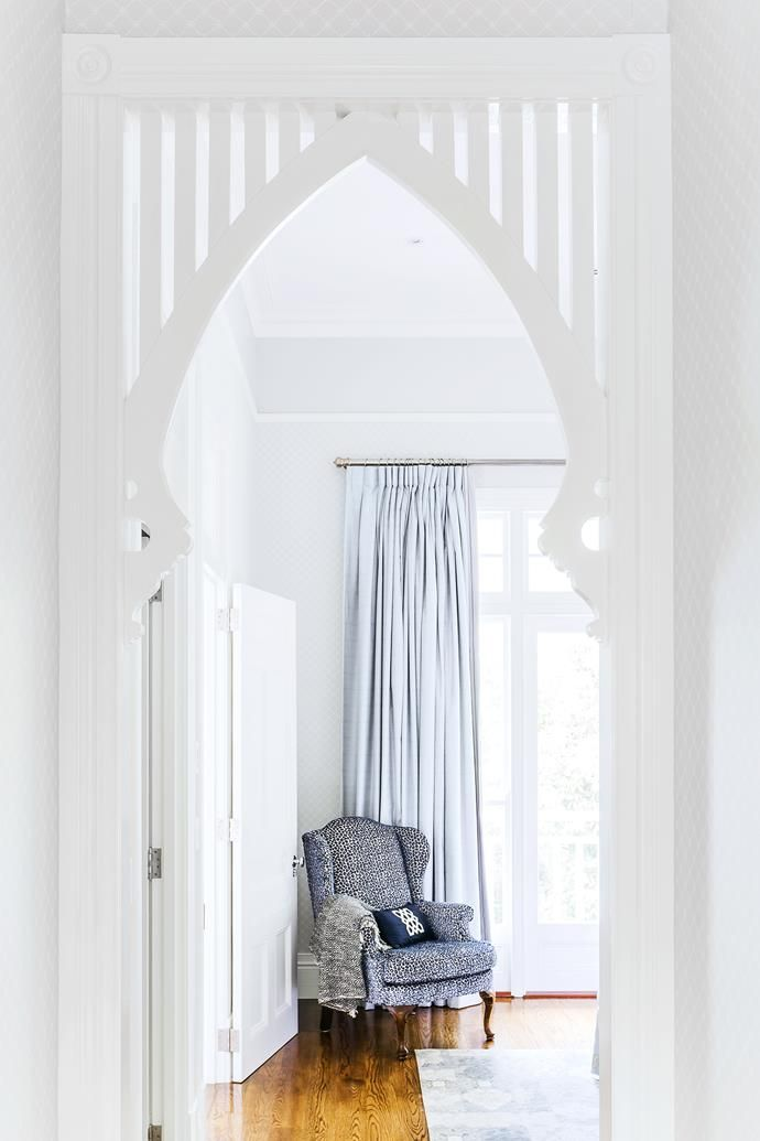 Classic wing chair reupholstered in blue.   Photo: Maree Homer   Styling: Kate Nixon   Story: Australian House & Garden