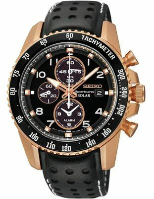 Featuring a rose gold-tone case with black dial and leather strap this Seiko Sportura Alarm Chronograph is a sophisticated sport watch with the latest solar technology. - Seiko solar movement - Charge