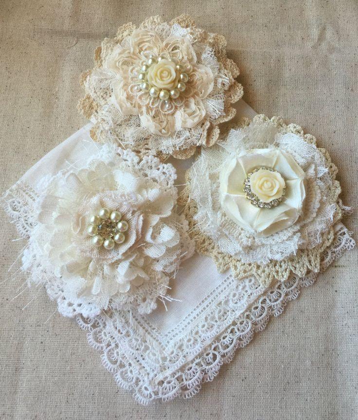 Wedding Hair Flower, Wedding Decor, Shabby Chic Fabric Flower, Ivory Lace Bridal Flower, Girl Headband Flower,Ivory Wedding hair accessory by ShabbyChicLoft on Etsy