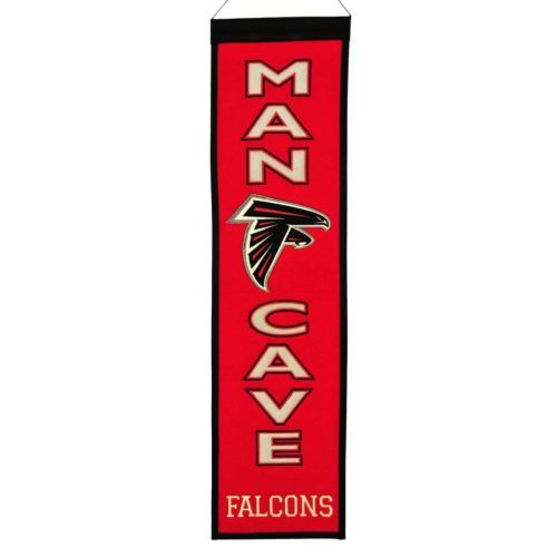 """$31.50 - Your favorite space deserves a little bit of your favorite NFL team, and this Atlanta Falcons banner is just the ticket. Featuring team logo, helmet and """"Man Cave"""" applique and embroidery. Product Features Hanging cord Product Details 32"""" x 8"""" Wool blend felt Imported"""