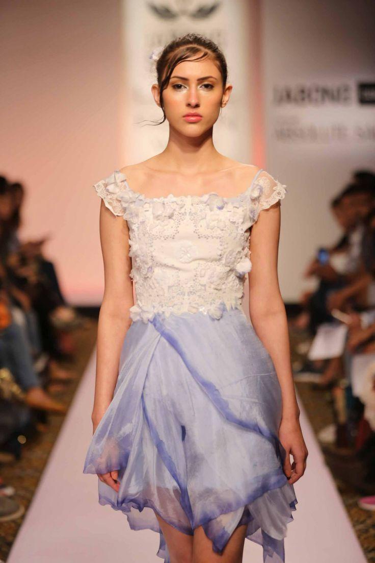 Lakme Fashion Week Summer/Resort 2015- Day 3- Show4- Surbhi Shekhar #lakmefashionweek #summerresort #surbhishekhar #day3 #show4 #indianfashionoutfit #chiffon #flower #indaco #white #shortdress