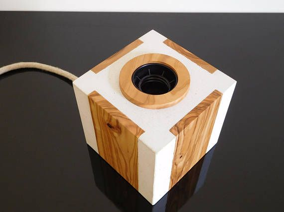 White concrete table lamp geometric concrete and wood