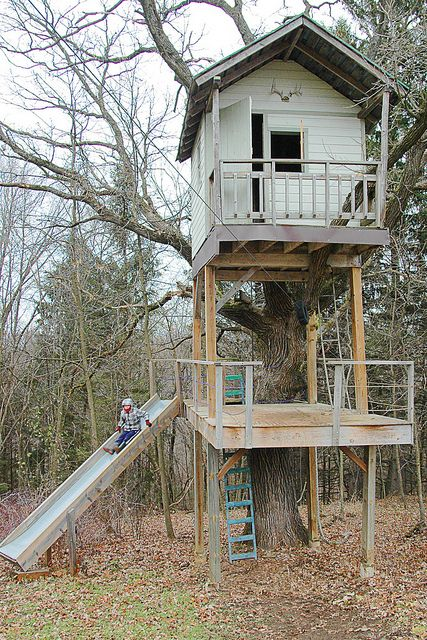 double decker w/ slide & zip-line- forget the grandkids- they can come visit, this is mine!