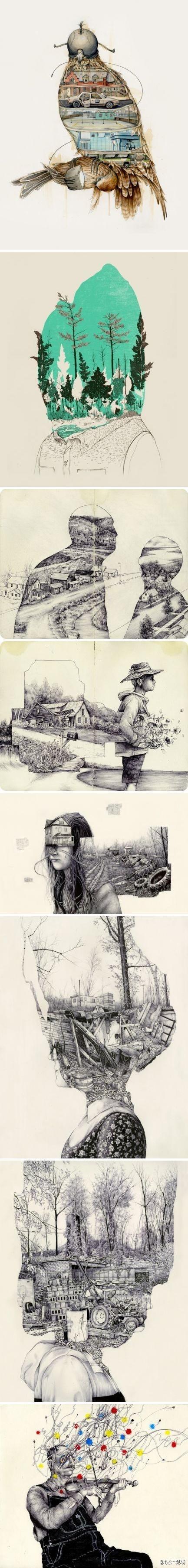 无尽的纸上世界,看插画师Pat Perry作品,仿佛可以直接走进艺术家的内心,一窥这充满诡异想法的内心世界。