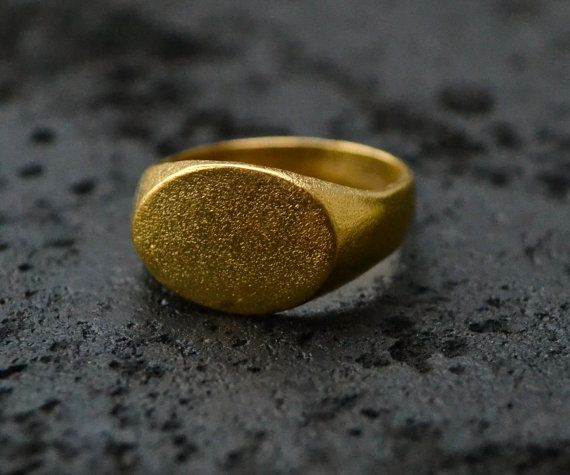 Oval Mens Ring Gold Plated, unisex ring, gold ring, gifts for men, signet, textured, matte surface, handmade