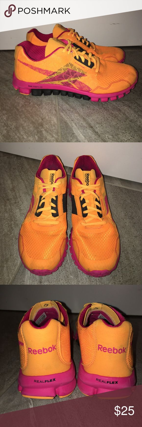 REEBOK REALFLEX REEBOK REALFLEX Sz 6 women's. Super cute! Minor stains on shoe, but overall good condition! bright orange w Pink Reebok Shoes Athletic Shoes