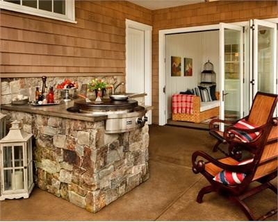 Relaxing Transitional Outdoor Kitchen by Garrison Hullinger