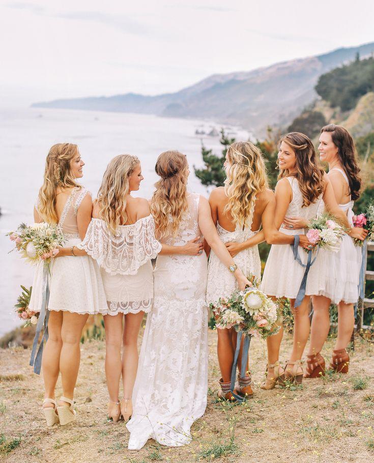 Big Sur Wedding Wildflowers  Cliff  Bridesmaids  Priscila Valentina | http://www.priscilavalentina.net