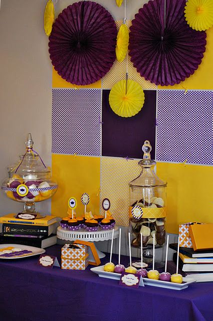purple and gold graduation party colorful graduation party themes pinterest classy. Black Bedroom Furniture Sets. Home Design Ideas