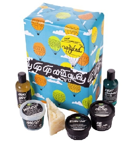 Lush   Uplifted   you'll be carried up, up and away with this selection of carefree, uplifting goodies for your shower and body. The idea of this gift was to have a contents and design that would leave you feeling uplifted! Are you allergic to early mornings? Or feeling a little down in the dumps. Turn those frowns upside-down and open up this happy, carefree box of goodies.  ($64.90)