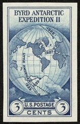 1934 3c Byrd, Imperforate Single Stamp issued without gum Scott 735a Mint VF NH  www.saratogatrading.com