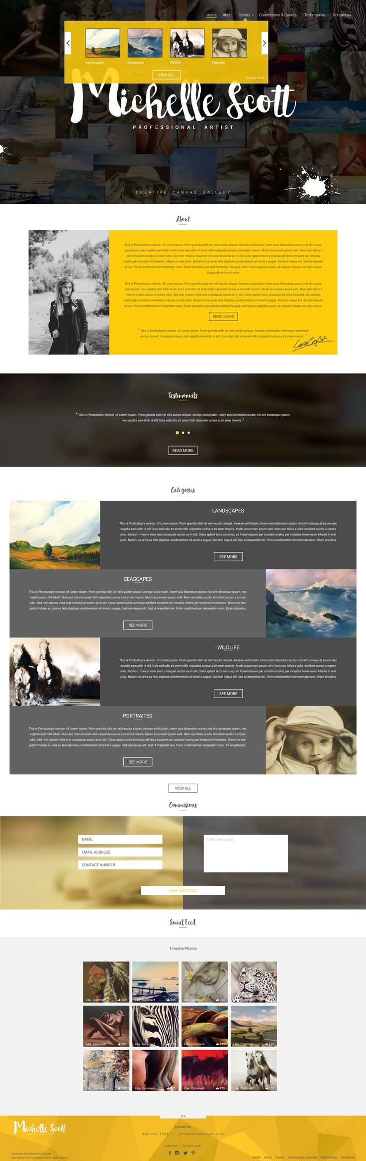 Mock up Home page concept design for artists website. Designed by Epicdev. http://epicdev.co.za/