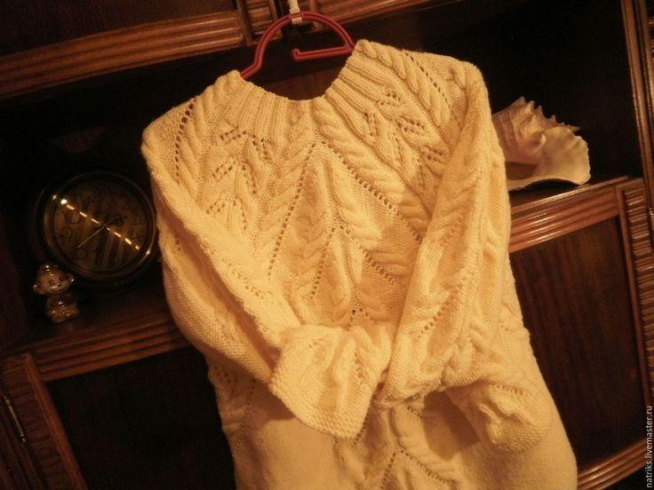 Купить Свитер Стефани кремовый - белый, свитер женский, авторская ручная работа, купить свитер