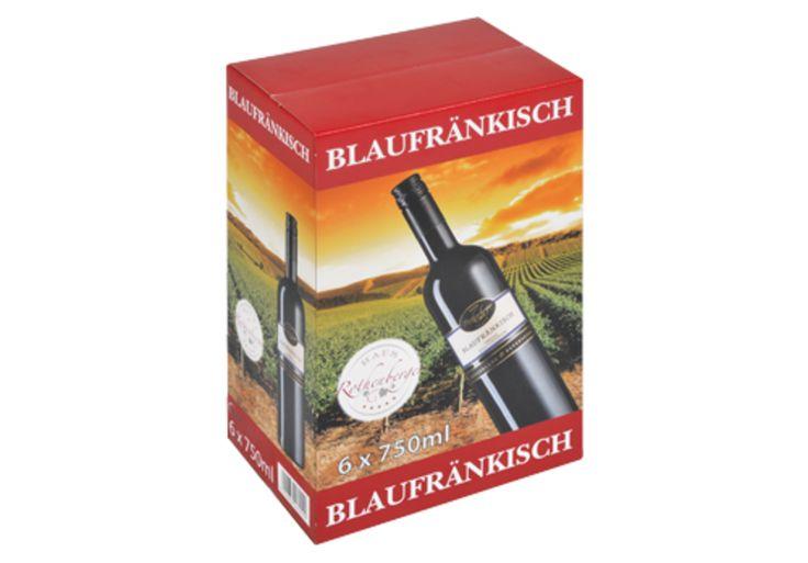 #Offsetkaschierter #Weinkarton • #Verkaufsverpackung für 6 Flaschen Rotwein. • 4-färbig #Offsetbedruckt. • #T4P, #Getränkeverpackungen