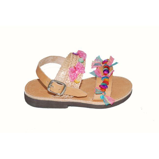 #girls #sandals Πέδιλο δερμάτινο Mούγερ, ταμπά, με χρωματιστές πετρούλες.