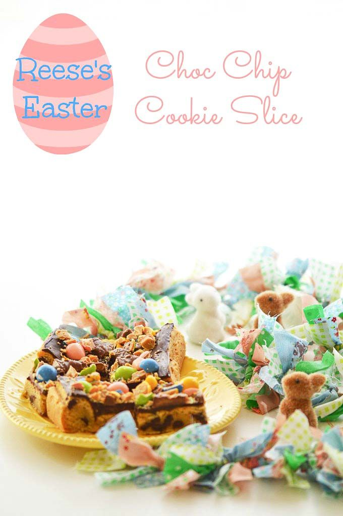 Reeses Easter Choc Chip Cookie Slice - Basil and Chook